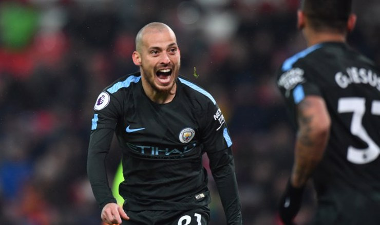 David Silva slavi drugi gol (Foto: Anthony Devlin/Press Association/PIXSELL)